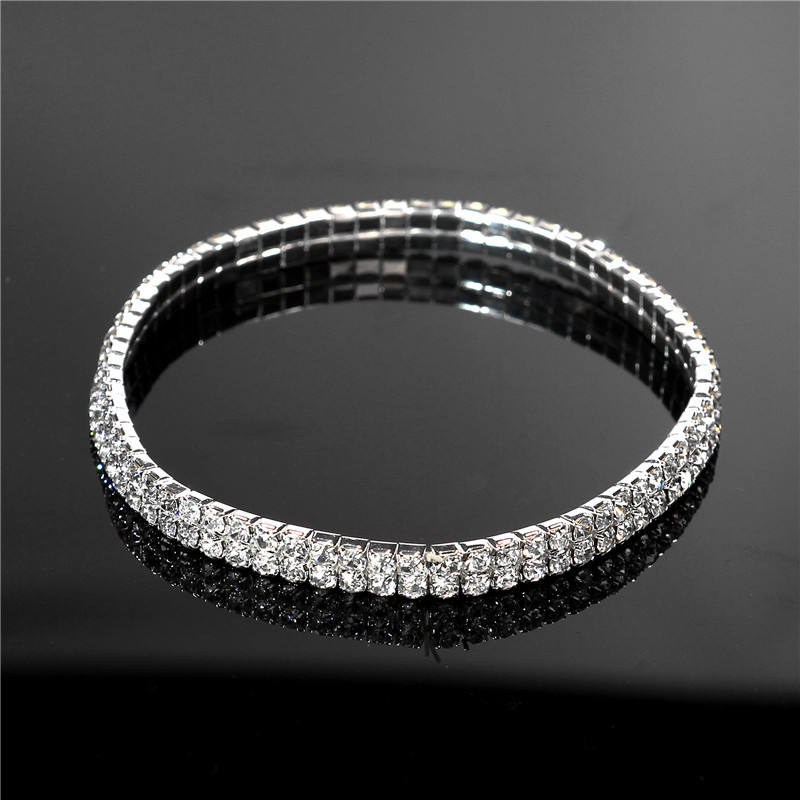 2020 Ins Hot Multi-layer Single Row Gold Silver Rhinestone Anklet Crystal Diamond Dancing Elastic Tennis Anklet Foot Jewelry