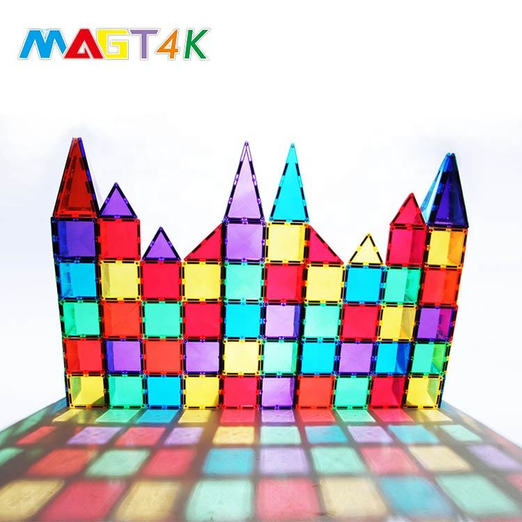 Top Quality magnet building tiles educational montessori toy sets ABS plastic magnetic funny tile sets