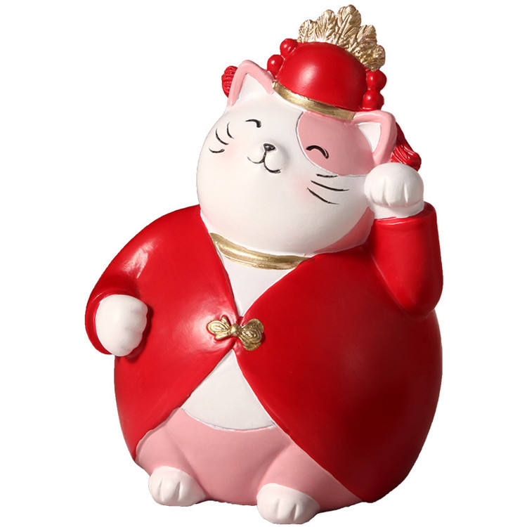 Cute Modern Fortune Cat Creative Resin Lucky Cat Handicraft 2021 Cute Gift Items