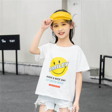 Kids area children's smiling face printing short-sleeved T-shirt new boys' half-sleeved jacket round collar parent-child shirt