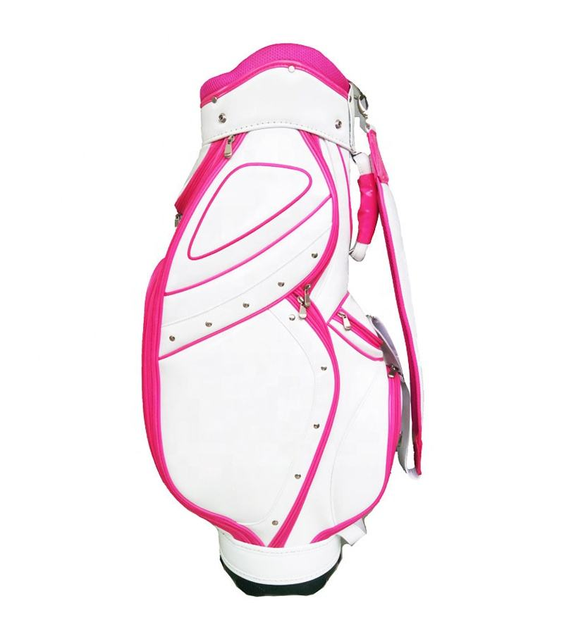 Factory price colorful pink golf bag top divider can install 13 clubs