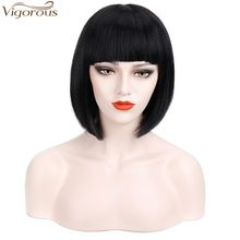 Vigorous Pixie Cut Short Hair Wig Straight with Flat Bangs Synthetic Bob Hair Colorful Cosplay Daily Party Wig for Women