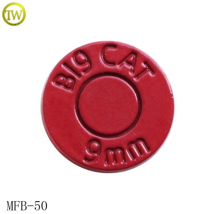 Custom paint color round press buttons four parts engraved metal spring snap button for clothes