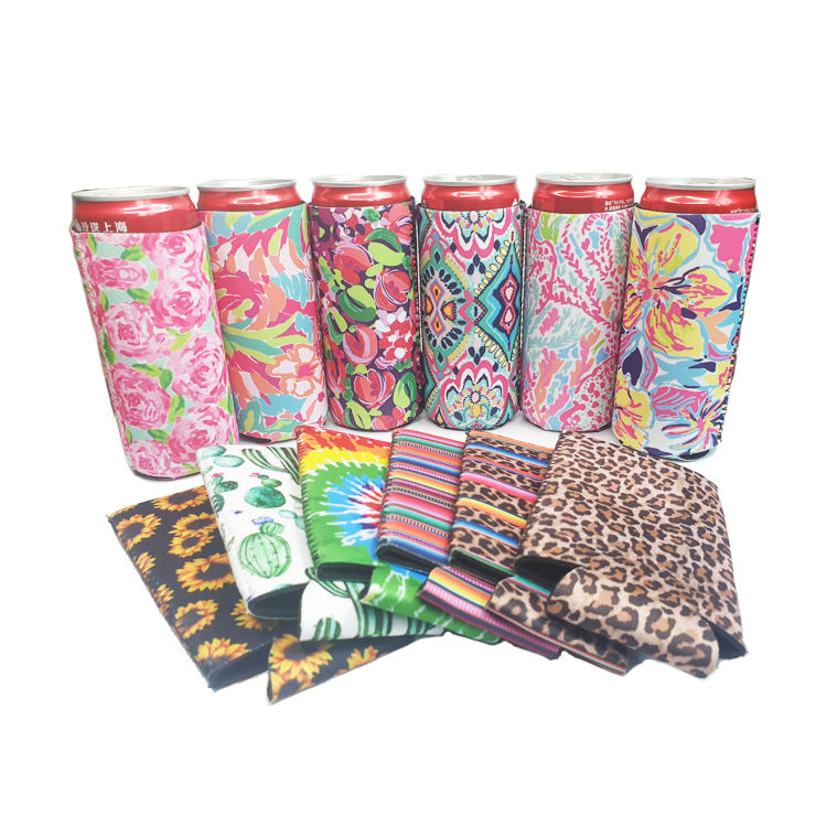 High Quality Slim Can Cooler Sleeve Glitter Blank Neoprene Beer Coolers ,Neoprene Collapsible Skinny Can Cooler Koozis