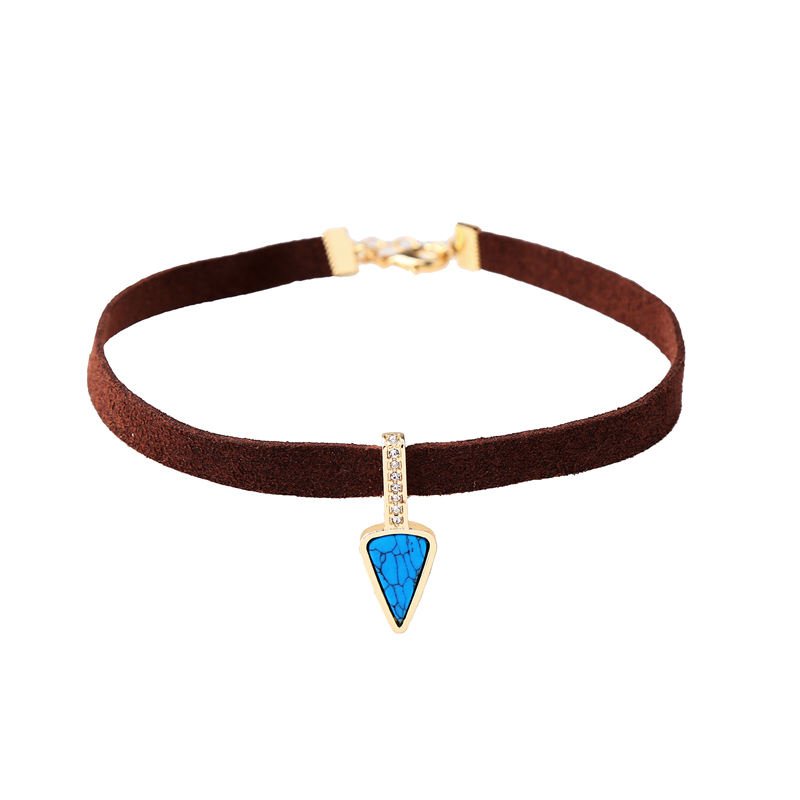 xl00825c Brown Leather Choker, Blue Synthetic Stone Charm Stylish Necklace Jewellery Wholesale