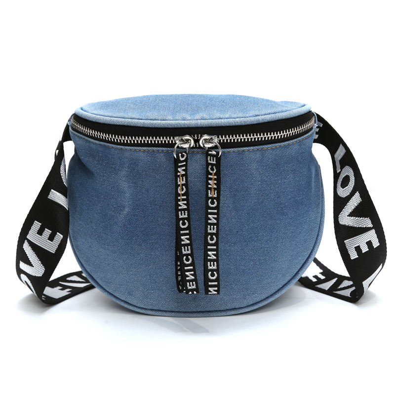 2019 Female New Fashion Denim Chest Handbag Unisex Fanny <span class=keywords><strong>Pack</strong></span> Ladies Waist <span class=keywords><strong>Pack</strong></span> Belt Bags Purse