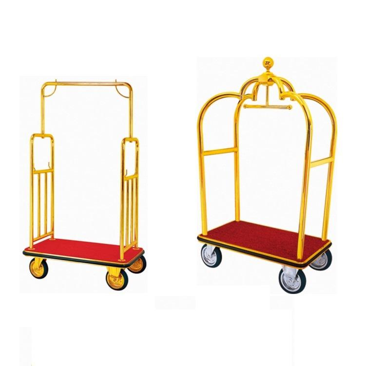 Hotel Four Wheel Stainless Steel Lobby Fashion Design Steel Luggage Cart