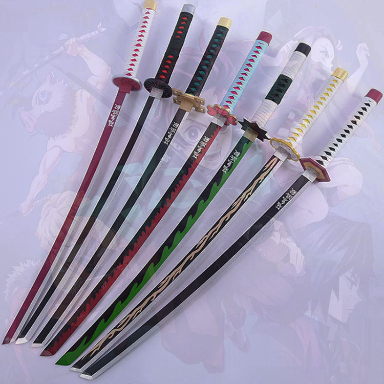 2021 trending hot selling Handmade Japanese Anime Demon Slayer Kimetsu No Yaiba Cosplay Wooden Katana Samurai Toy Swords