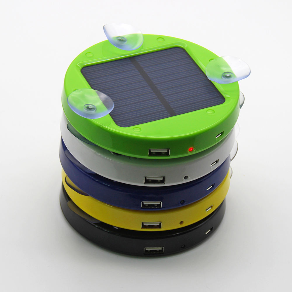 Solar Gadgets Round Shape Sucker Sticky Glass Solar Power Bank,OEM Portable 1800mAh Solar Powered Phone Charger