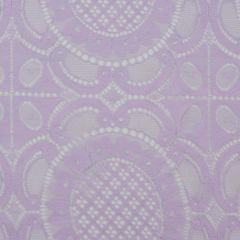 Hot Selling Finished Scalloped Mauve French Paisley Pattern Lace Fabric for Dress
