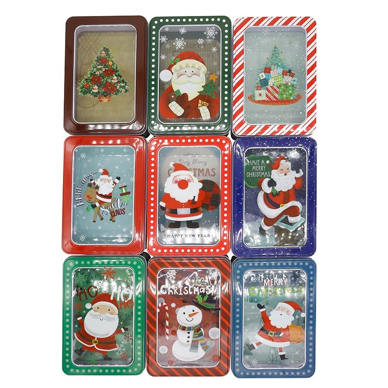 Cute Rectangle Christmas Gift Package Tin Box Wedding Party Candy Cookies Biscuit Case Christmas Gift Tin Rectangle Box