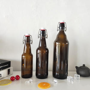 Manufacturer custom 750ml double wall clear glass amber beer bottle