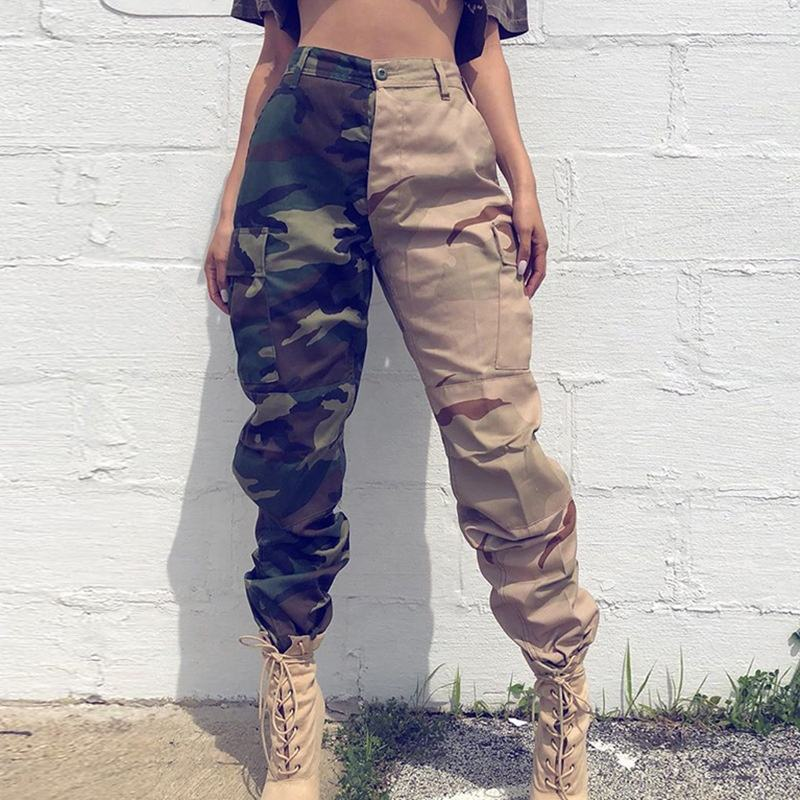 2020 Ladies Camouflage Printed Casual Overalls Trousers High Waist Cargo Pants Women