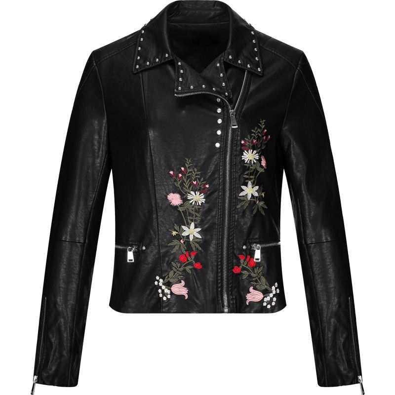 Custom female fashion embroider coat motorcycle sexy ladies autumn faux leather woman PU jackets