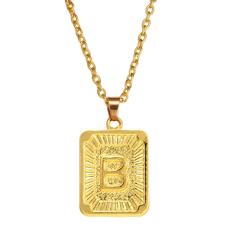Mens Womens Initial Letter Square Pendant Necklace