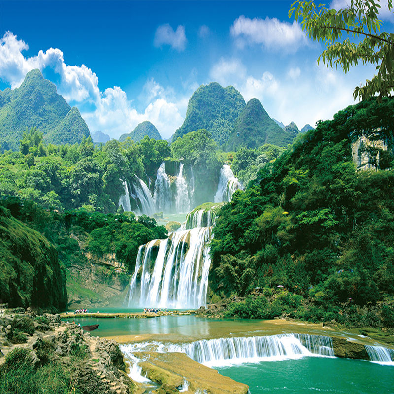 Custom Mural Non-woven Wallpaper Green Mountain Waterfall Landscape Photography Background Wall Painting Wall Papers Home Decor