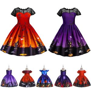 Girls Halloween Costumes Children Ghost Pumpkin Bat Castle Print Dress Kids Makeup Party Costume Ideas 2019 Zombie Witch Cosplay