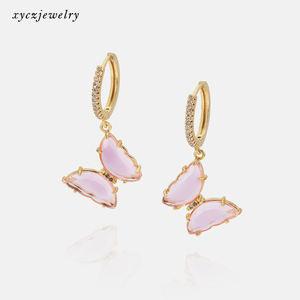 Hot sale butterfly pink glass drop earrings girl woman fashion jewelry butterfly earrings