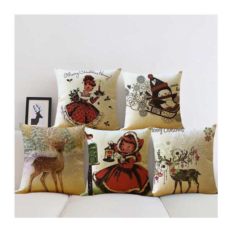 45x45cm/55x55cm Home Decor Linen Vintage Printed Pillow Covers Merry Christmas Cushion