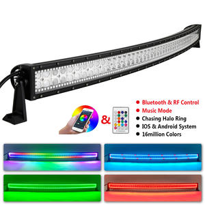 288W 52Inch Gebogen Led Light Bar Bluetooth Muziek Functie Led Licht Bar Super Heldere Rgb Chasing Led Off road Lichtbalk