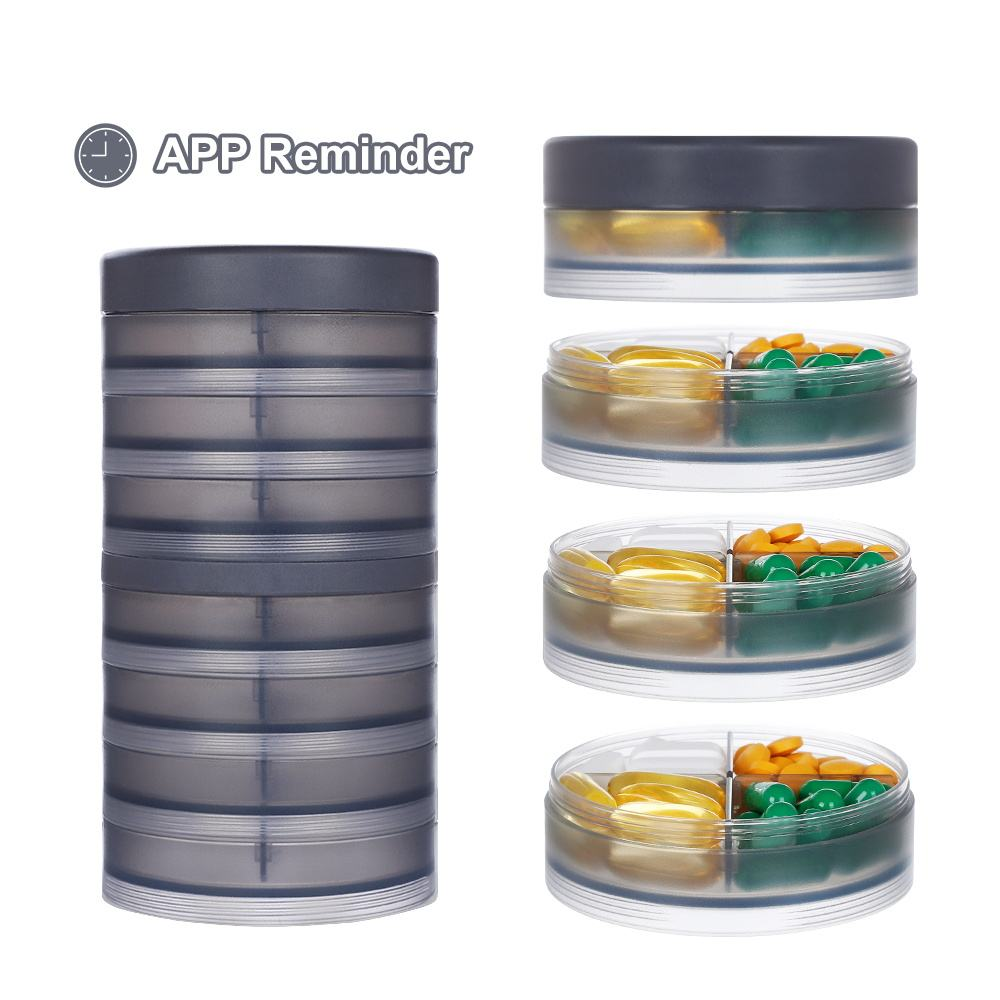 APP Function Round Weekly 7 Day Plastic Daily Travel Case Pill Organizer Box