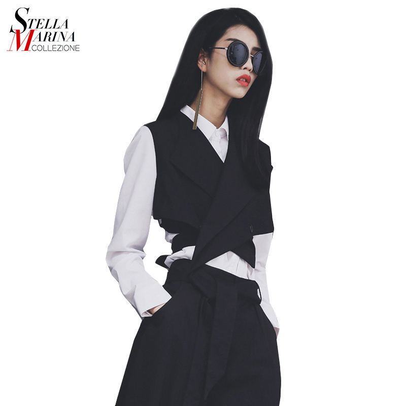 Spring Summer Plain Black Sleeveless Button Fashion Women Waistcoat Girls Unique Casual Jacket Wholesale
