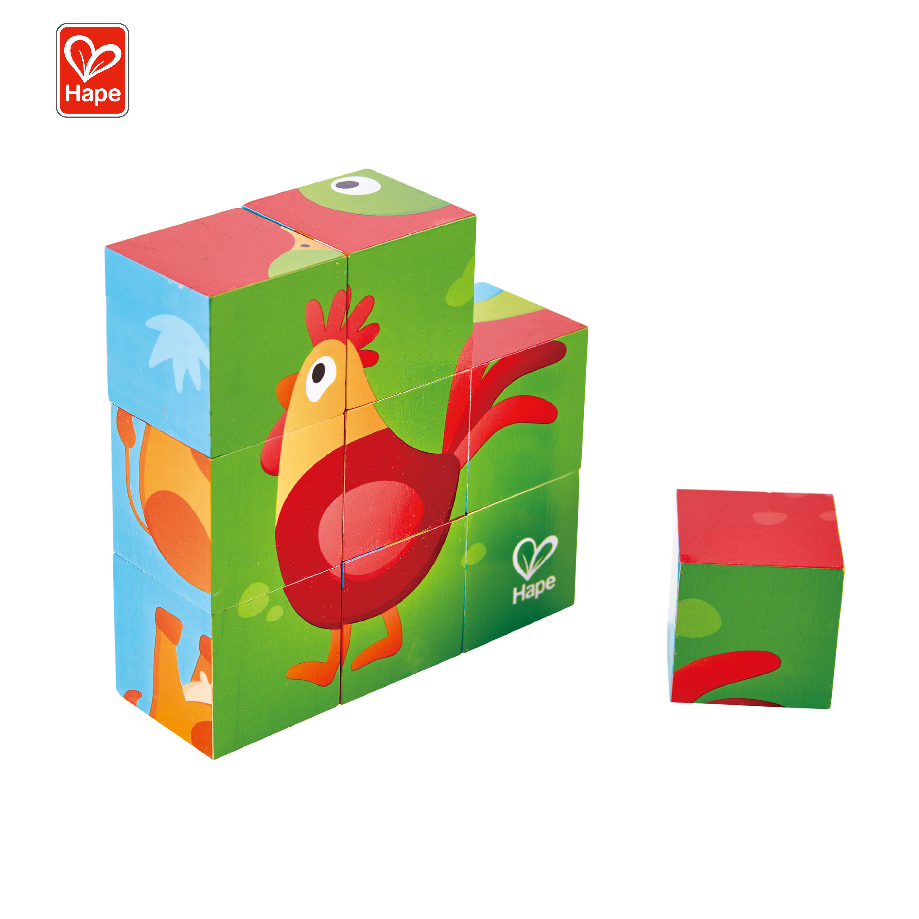 Hape Juguetes De Madera Animal Matching Farm Puzzle Baby Wooden 3D Cubes Puzzle For Kids