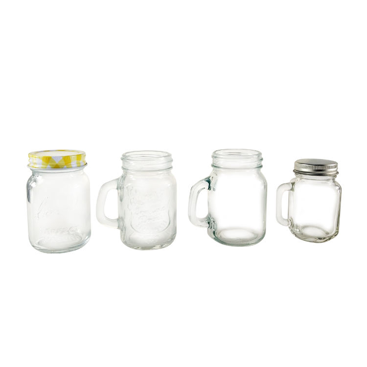 60ml 2oz mini small glass mason jar handle bubble tea mason jar