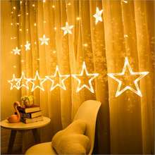 2.5M Christmas LED Lights 110- 220V Romantic Fairy Star LED Curtain String Lighting For Holiday Wedding Garland Party Decoration