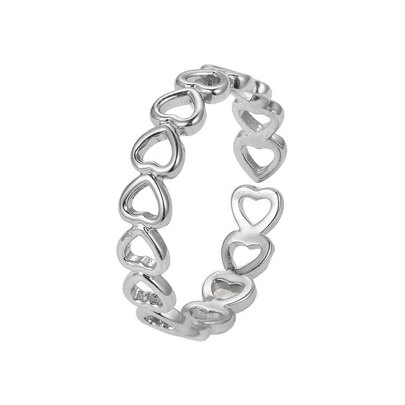 Silver Colour Hollowed-out Heart Shape Open Ring Design Cute Fashion Love Jewelry For Women