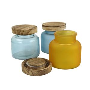 Cheap Customized Colorful 25 OZ Empty Frosted Matte Glass apothecary Empty Candle Jars with Wooden Lid