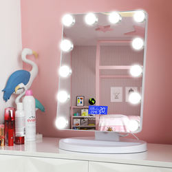 Amazon Hot Sale LED Bluetooth Speaker Hotel Vanity Bathroom Hollywood Mirror With MDF Base