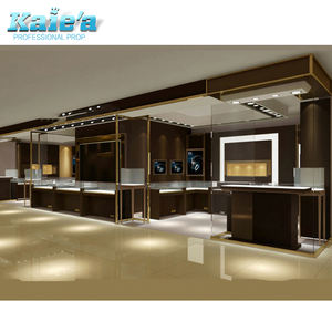 Interior modern glass jewellery shop design stainless steel glass jewelry display showcase