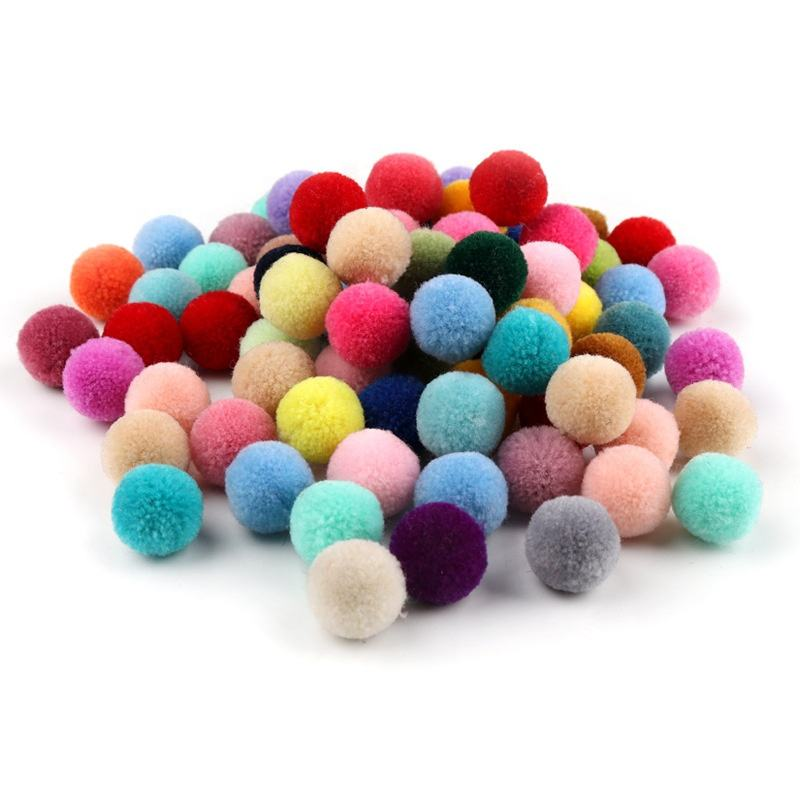Handmade 15mm thick Pom Poms wholesale colorful diy craft set cheerleading cotton yarn ball pompom