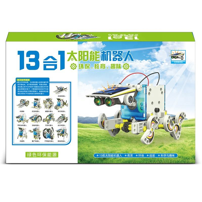 English Instruction Kids technology mechanical making stem education materials 13 in 1 solar robot toys.