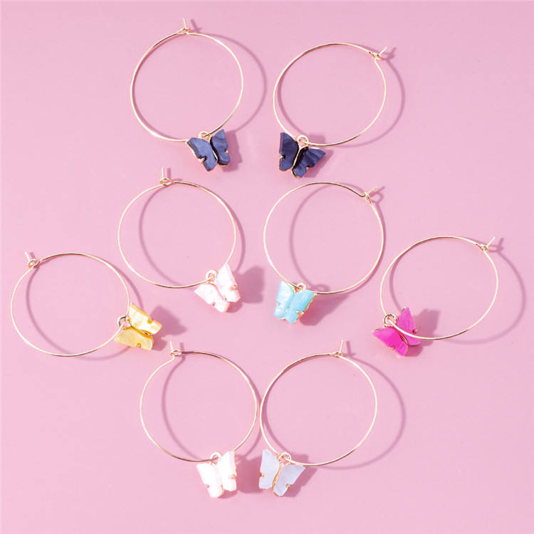 Fashion Gold Cute Animal Acrylic Color Butterfly Charms Plastic Hoop Earrings Accessories