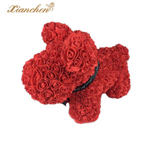 Hot Selling 38cm Valentine's Day Gift Handmade Artificial Flower Rose Bear Wedding New Year Gift Love Dog