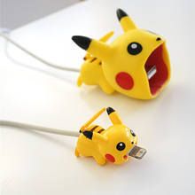 Cute Cartoon Big Mouth Stitch Pokemon USB Charger Cable Bites Protectors Plastic Pvc Phone Accessory For Phone