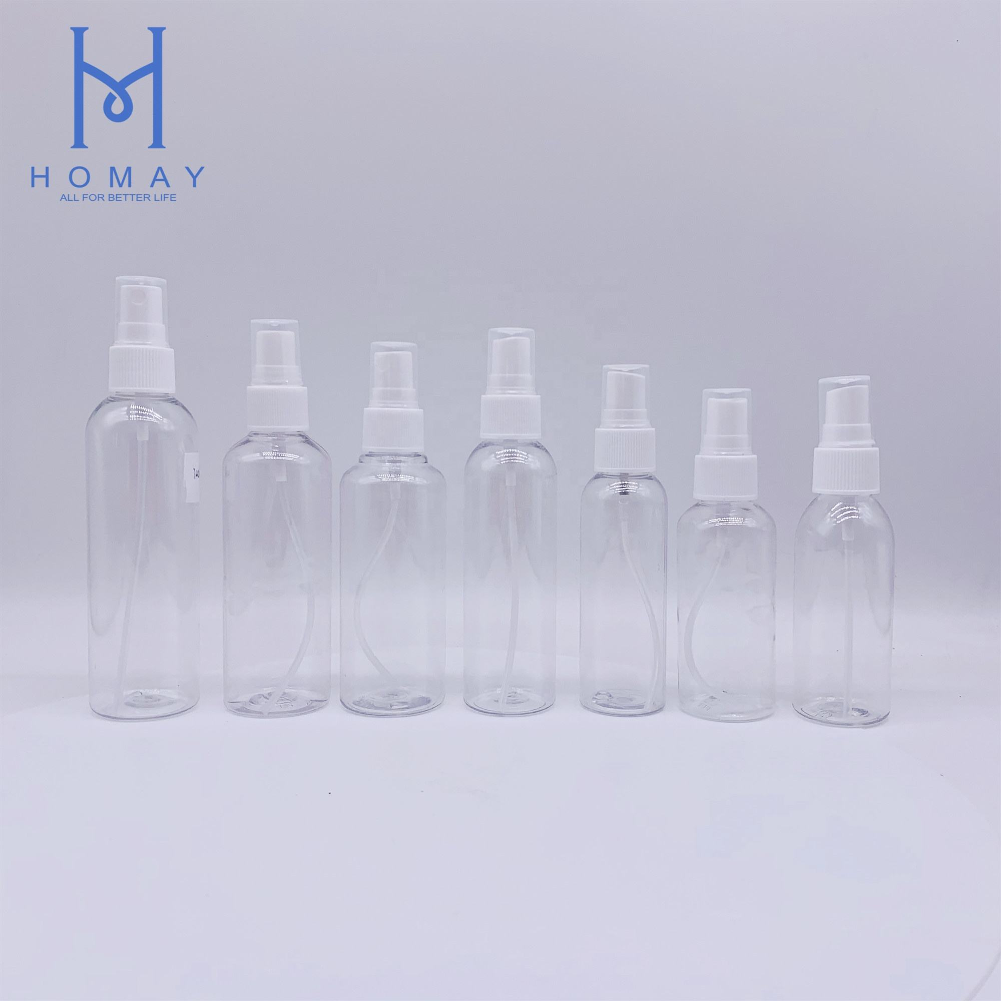 Empty 30ml,50ml,60ml,85ml,100ml ,120ml,150ml ,250ml,500ml clear white spray pumb plastic bottle