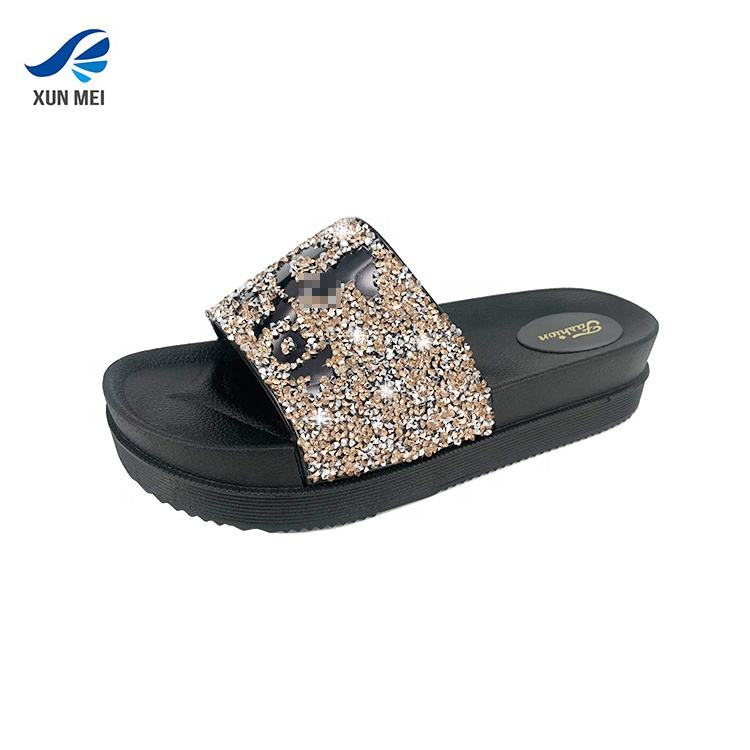 Summer beach sandals comfortable glitter outdoor fashion bling slides slippers with low MOQ