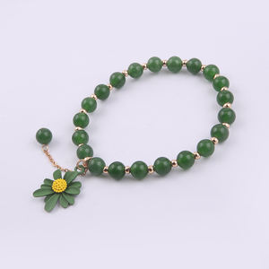 JOJO Custom Fashion Jewelry Natural Stone Green Jade Alloy Beads Bracelet