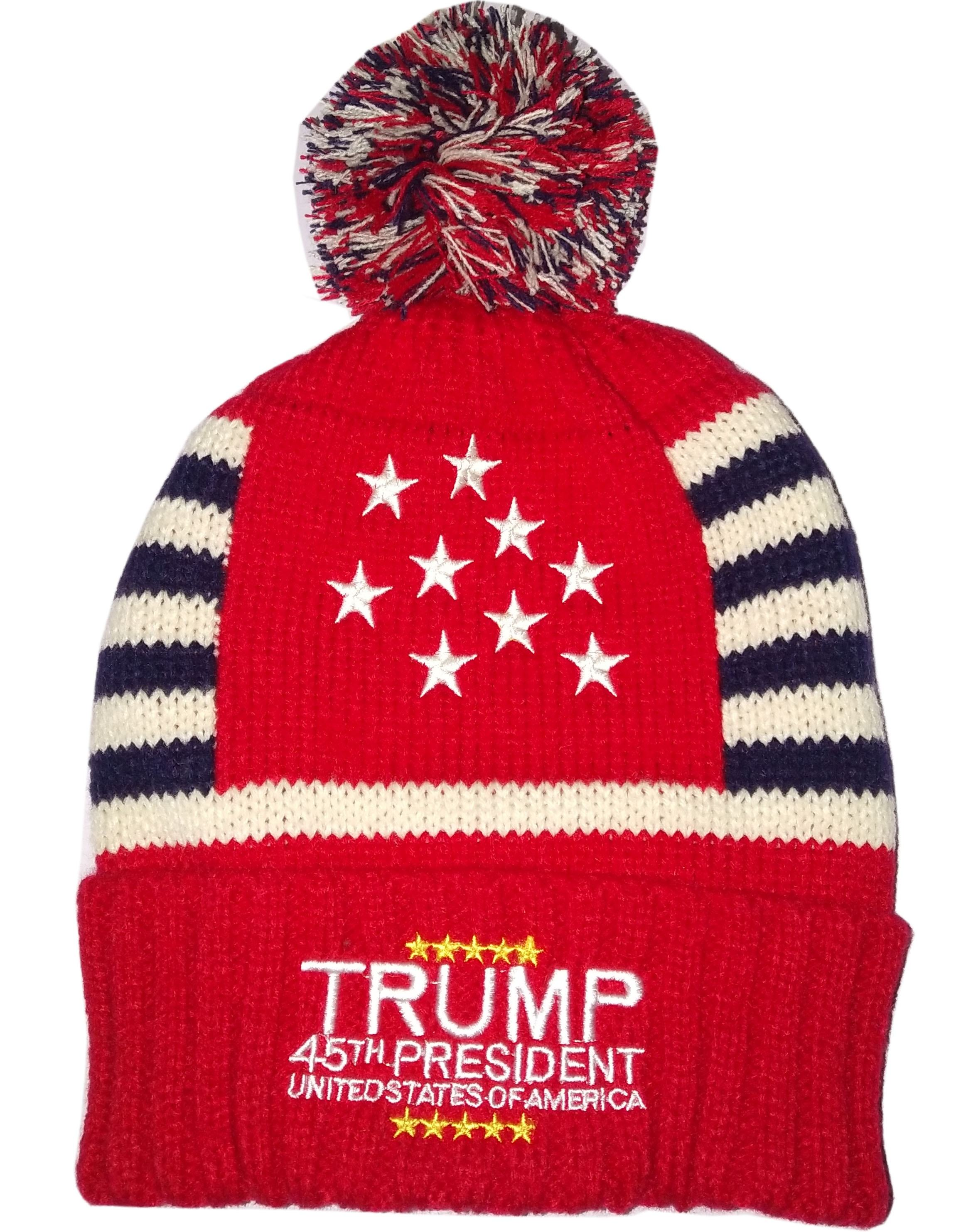 Unisex Men Women Jacquard Embroidery American Flag Cable Knit Winter Pom Trump 45th President Beanie Trump 2020 hat