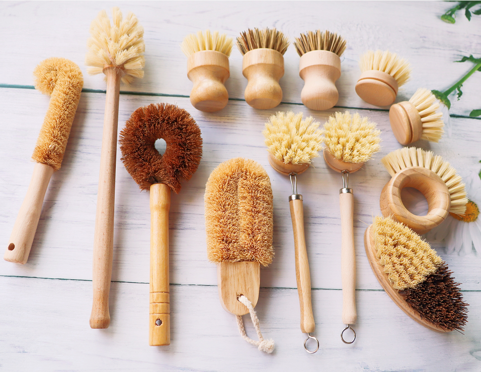 Natural Pan Pot Vegetable Dish coconut Brushes Eco biodegradable wooden wood bamboo kitchen scrub cleaning brush set