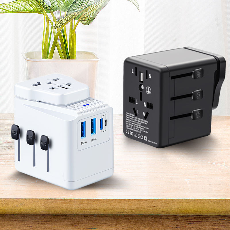 Universal Travel Adapter 3.4A Type C 3 USB International World Power Plug Adapter Kit Travel Wall Charger USB Plug