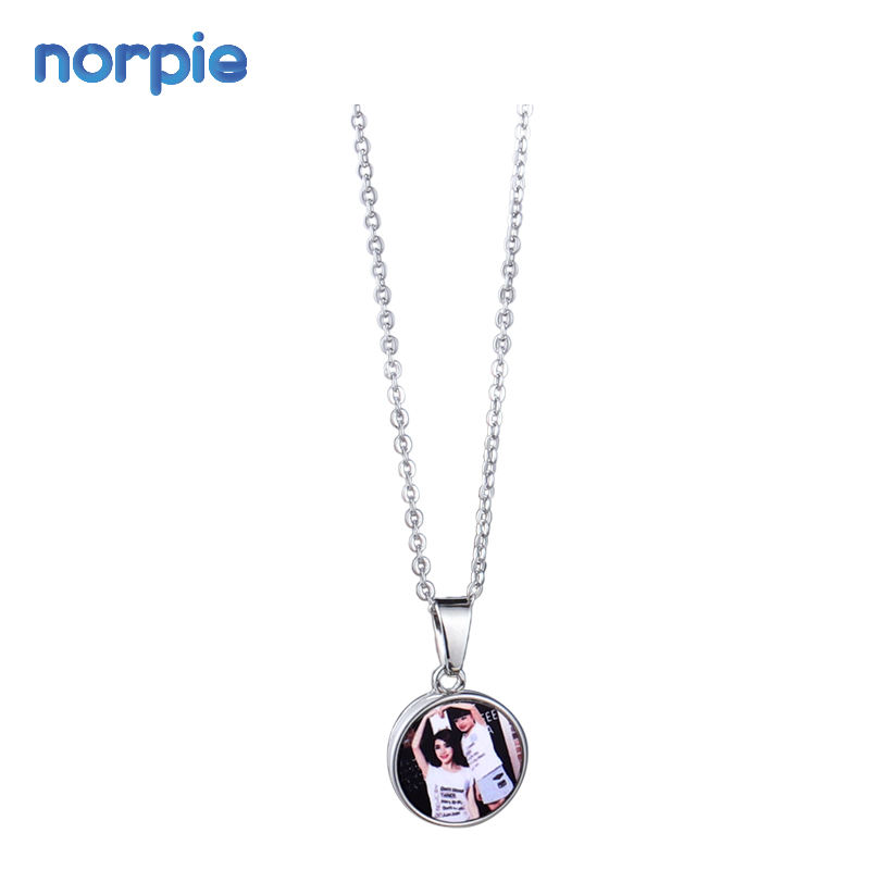 Sublimation Blanks Metal Round Snap Button Shape Necklace for DIY Custom