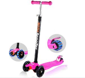 Kick scooter for kids 4 wheel scooter, 3 Height Adjustable (2-14 Years) PU wheels with Extra Wide Deck Best Gifts for Boys/Girls
