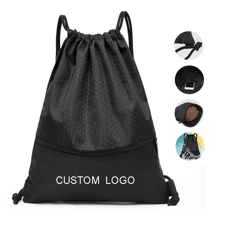 50PCS MOQ waterproof women men polyester gym backpack custom nylon drawstring sport gym bag