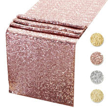 NICRO 12*108 Inch Elegant Glitter Sequin Tablecloth Rose Gold Fabric Decoration Sequin Table Runners For Wedding Party Supplies