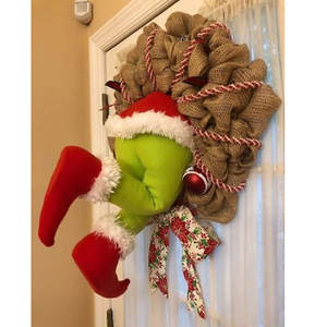 Christmas Thief Stole Christmas Burlap Wreath, Christmas Grinch Burlap Wreath - with Pose able Plush Legs, Wired Wreath Frame