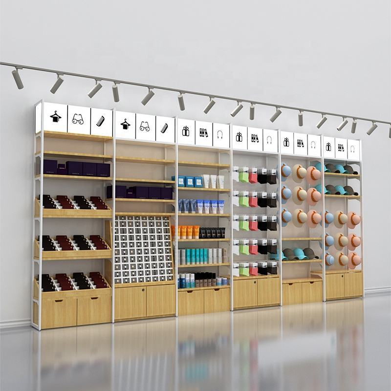 display wooden metal miniso shelves store racks shop furniture showcase for Gift shop